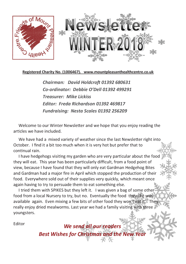 Friends of Mount Pleasant Health Centre Newsletter Winter 2018