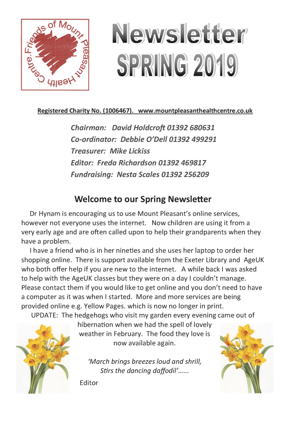 Friends of Mount Pleasant Health Centre Newsletter Spring 2019 pdf download